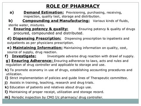 Responsibility Of A Pharmacist by Hospital Pharmacy