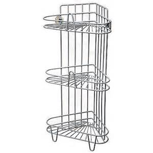 free standing stainless steel corner shower caddy white