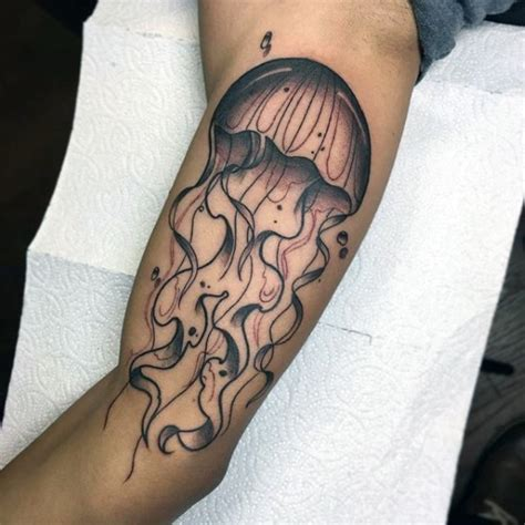 3d jellyfish tattoo big simple painted and colored jellyfish tattoo on arm