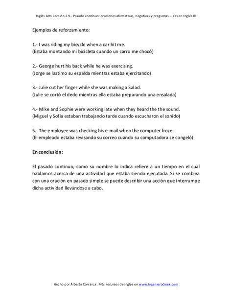 preguntas con will afirmativas y negativas 2 9 pasado continuo oraciones afirmativas negativas y