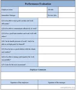simple performance appraisal template performance evaluation form sle performance evaluation