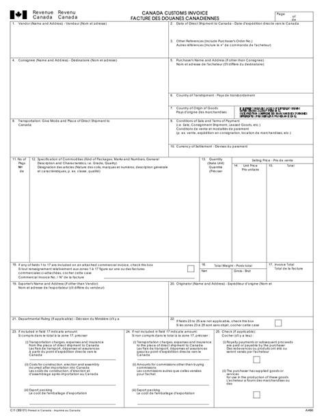 28 canadian customs invoice template canada customs