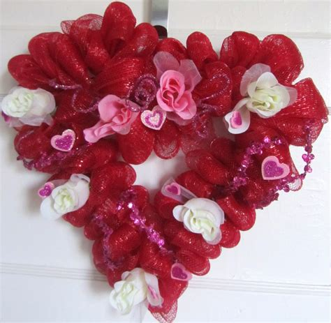 valentines day wreath shaped valentines day mesh wreath