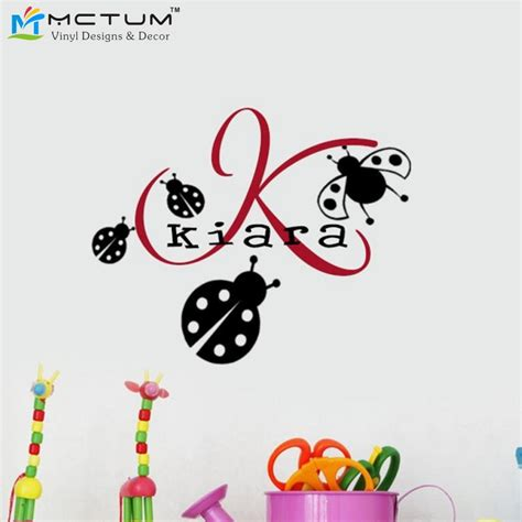 ladybug wall stickers ladybug wall decals with personalized children baby name