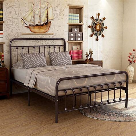 metal bed frame iron decor steel queen size base