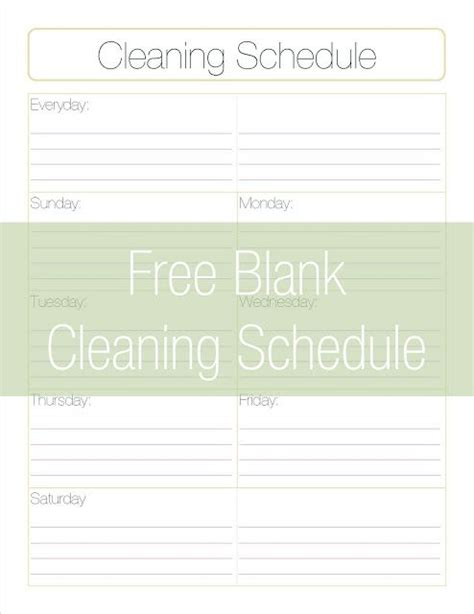Free Printable Cleaning Schedule Template Fitness Pinterest To Be Nice And Track Free Printable Cleaning Schedule Template