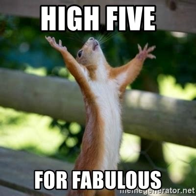 High Five Meme - high five for fabulous praising squirrel meme generator