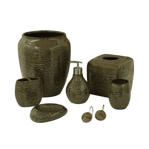 Browning Bathroom Accessories Ribbed Brown Bath Accessories