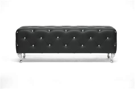 stella tufted bench stella crystal tufted black modern bench interior express