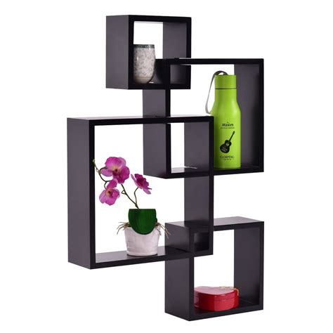 Wall Mounted Square Shelves 4 Intersecting Square Floating Wall Mounted Shelf Wall