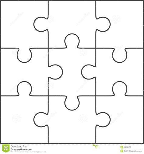 puzzle template generator jigsaw puzzle blank template 3x3 stock illustration