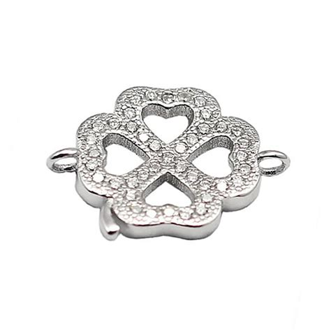 Preorder Lucky Four Leaf Clover Bracelet Charm Micro Pave beadsnice 30451 four leaf connectors 925 sterling silver lucky clover connector earring findings