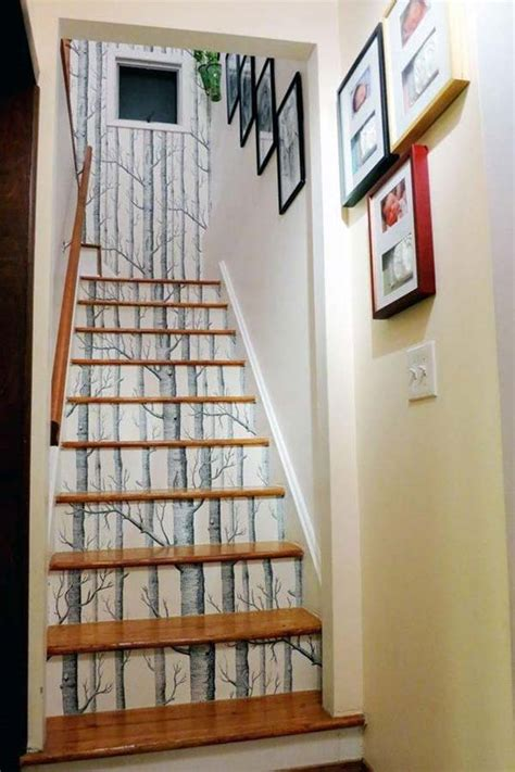 diy decorations stairs 20 diy wallpapered stair risers ideas to give stairs some flair architecture design