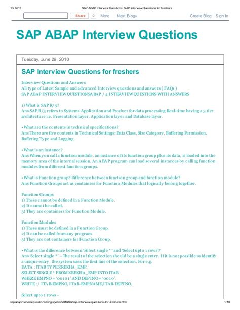 Questions For Mba Freshers With Answers by Sap Abap Questions Sap Questions For