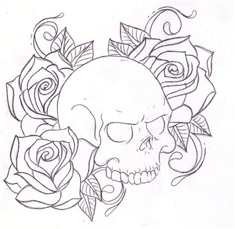 skull in a rose tattoo and skull drawing sketch design cosas