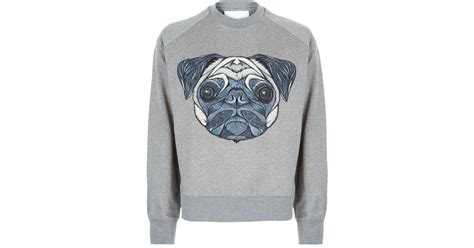 womens pug sweater juun j embroidered pug sweater in gray for lyst