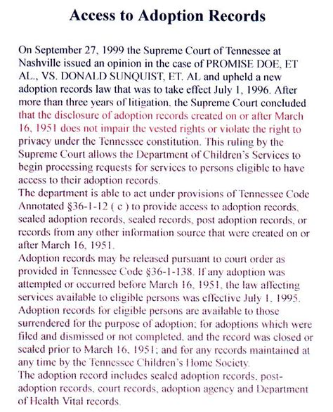 Are Adoption Records The State Of Tennessee Right To Adoption Records