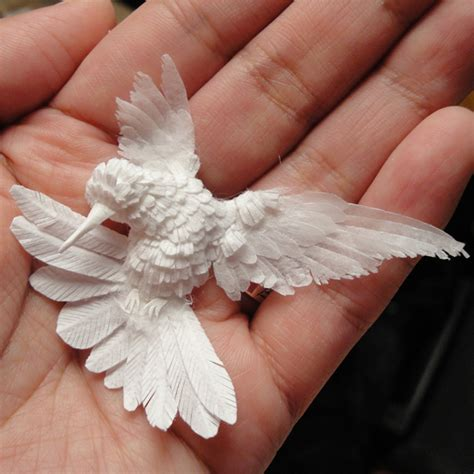 Make Paper Sculpture - paper hummingbird by cheong ah hwang supercoolpets