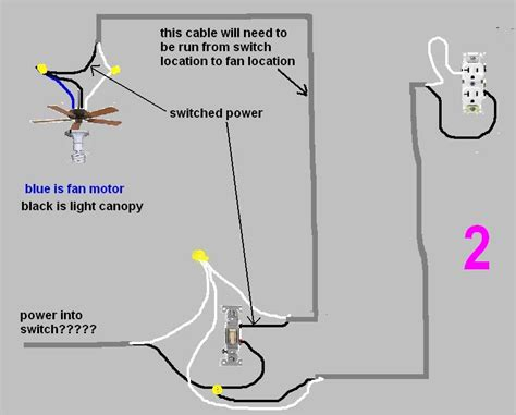 how to wire a ceiling fan with light switch diagram how to wire a switch from an existing box to a ceiling