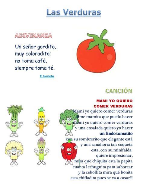 poesia de verduras adivinanzas y canciones de las verduras y frutas