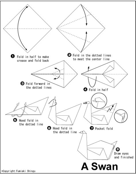Origami Swan Directions - origami swan this would make a beautiful mobile kid