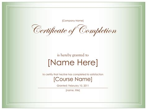 blank certificate of completion templates free best photos of certificate of completion template
