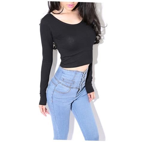 Blouse Belly fashion sleeve cropped top t shirt belly tops