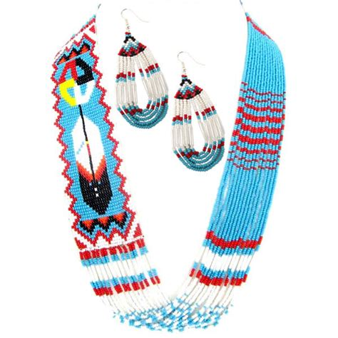 beadwork blue turquoise blue seed beaded feather layered feather