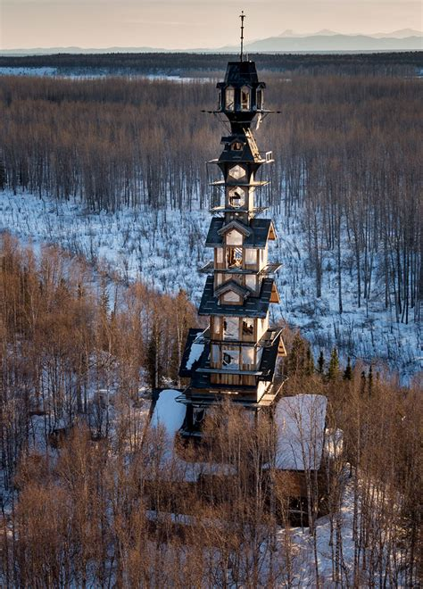 Goose Creek Cabins by Alaskan Attorney Builds 185 Foot Stacked Log Cabin Tower