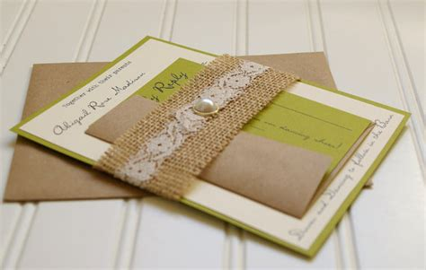 Handmade Lace Wedding Invitations - items similar to burlap and lace wedding invitations