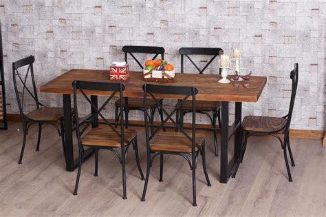 Wrought Iron And Wood Dining Table American Retro Dinette Combination Of Wood Wrought Iron Dining Table Folding Bar Table Desk