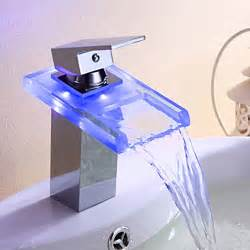 chrome finish single handle color changing led waterfall