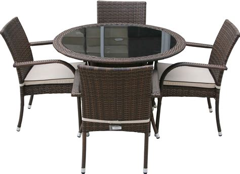 Brown Dining Table And Chairs Black Glass Top Table Combined With Brown Rattan Plait Chairs With Arm Rest And White