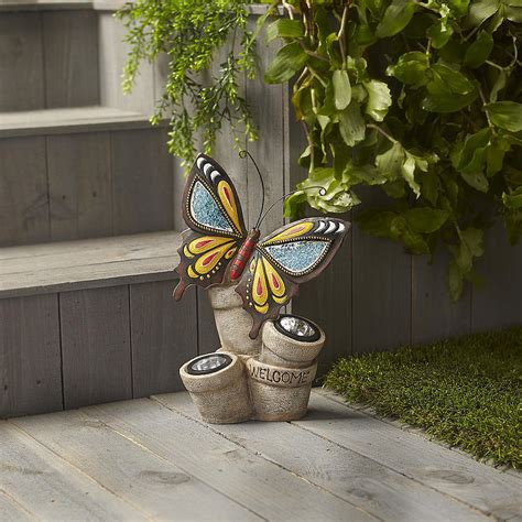 Butterfly Garden Decor Butterfly Statue Solar Light Welcome Garden Decor Porch Yard Patio Outdoor Ebay