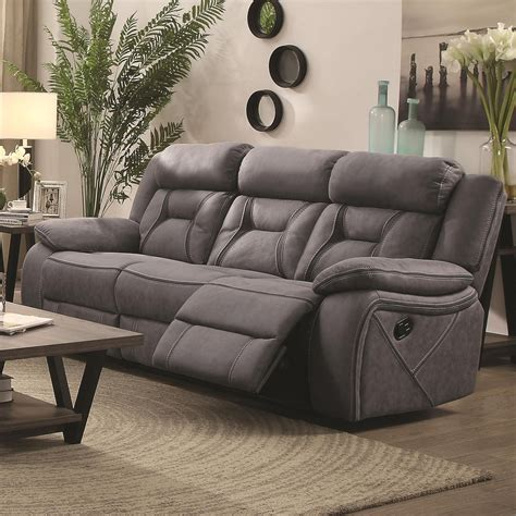 sectional sofas houston coaster houston 602261 casual pillow padded reclining sofa with contrast stitching lapeer