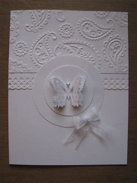 Handmade Greeting Cards For Wedding - butterfly embossed all white handmade greeting card tcf