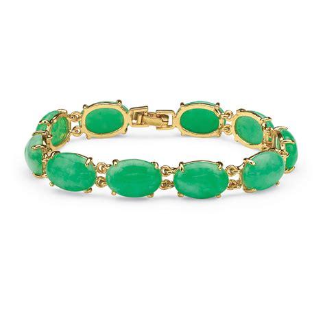 Jade Cabochon Bracelet in Yellow Gold Tone at Viomart.com