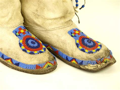 beaded moccasin tops pair of cheyenne high top beaded s moccasins in blues