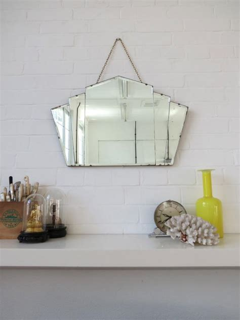 deco fan wall mirror vintage deco fan shape wall mirror bevelled edge ebay