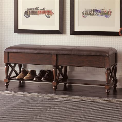 brown leather storage bench brown leather storage bench gump s