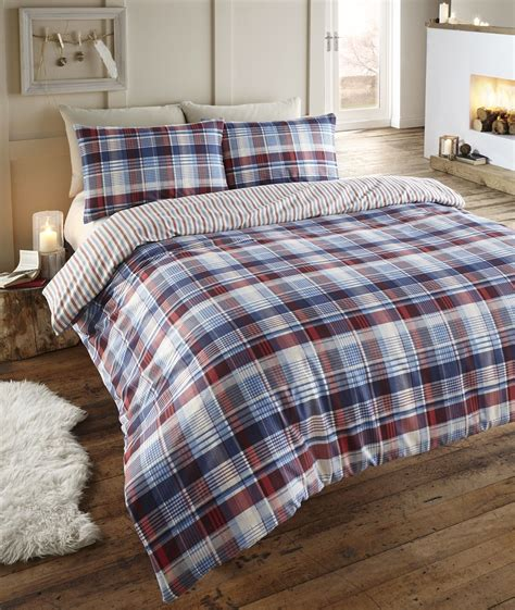 Flannelette Duvet Sets angus reversible flannelette duvet cover set from century