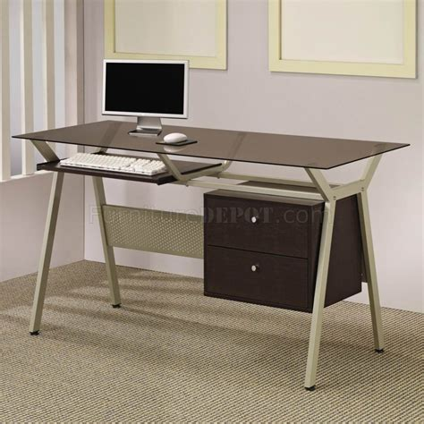 Office Desk Base Metal Base Smoked Glass Modern Home Office Desk W Two