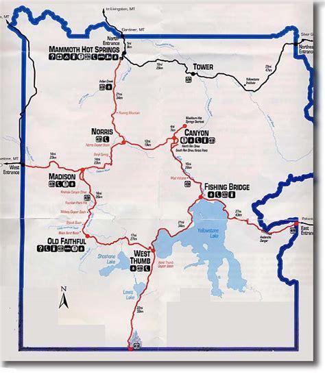 yellowstone lodging map map yellowstone