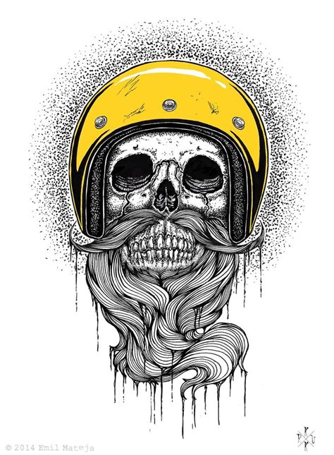 bearded skull tattoo ematique beard artwork print beards bearded
