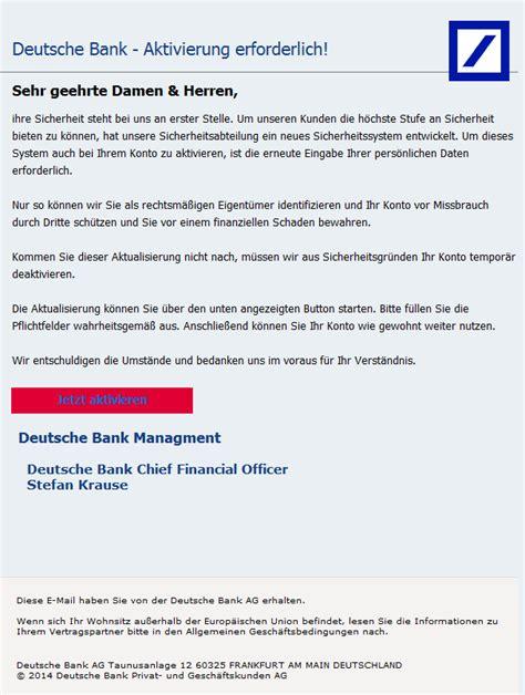 deutsche bank spam phishing mail alerts deutsche bank eigentums