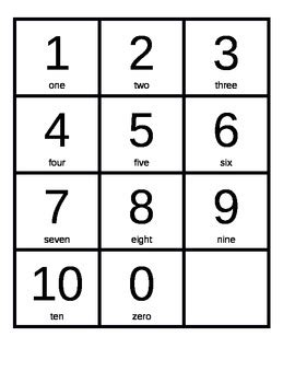 small printable number cards 1 10 number cards 0 10 by kate dell eva teachers pay teachers