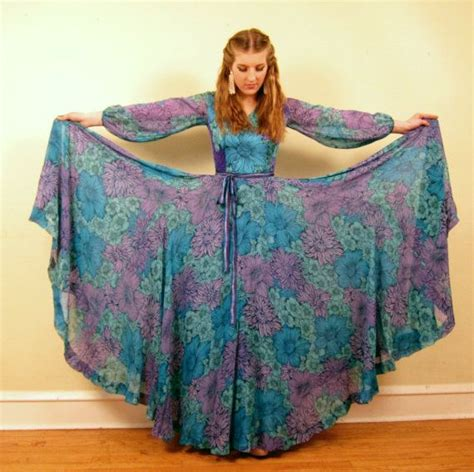 60s Spiro Printed Maxi Dress In Blue And Purple vintage 1960s la mendola dress 60s designer maxi dress