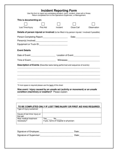 Incident Report Exle Pdf Incident Report Template 3 Legalforms Org