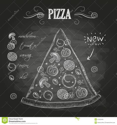 black 4 dollar pizzas chalk drawings pizza stock vector image of sketch