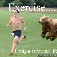 Running Bear Meme - exercise it might save your life running from bear